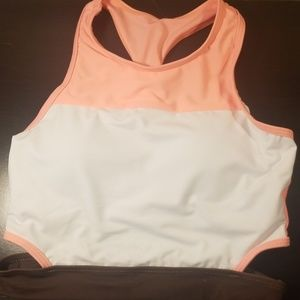 Coral, white, and brown two piece swimming suit